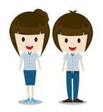 Pares bonitos do homem e da mulher dos desenhos animados na roupa ocasional à moda Imagem de Stock