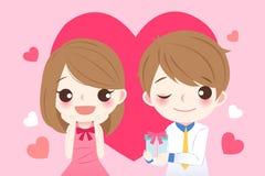 Pares bonitos dos desenhos animados com coração Imagem de Stock