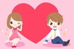 Pares bonitos dos desenhos animados com coração Foto de Stock Royalty Free