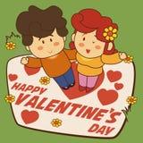 Pares bonitos felizes com flores e corações para o dia de Valentim, ilustração do vetor Imagem de Stock