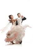 Pares bonitos na dança de salão de baile ativa Imagem de Stock