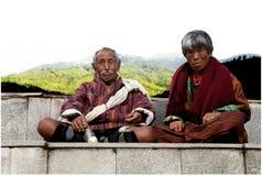 Pares butaneses da idade avançada, Butão fotografia de stock