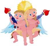 Pares cómicos do cupid Imagens de Stock Royalty Free