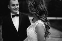 Pares cariñosos de la boda en el momento antes del kissingoutdoor Imagen de archivo
