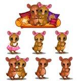 Pares cariñosos de ratones y de diversas emociones de los animales domésticos stock de ilustración