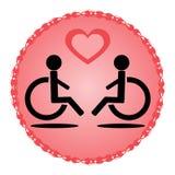 Pares cariñosos discapacitados esquemáticos en una silla de ruedas Fotos de archivo