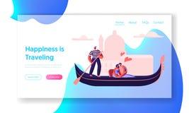 Pares cariñosos felices que abrazan en góndola con el gondolero Floating a lo largo del canal Amor en Venecia Hombre y mujer que  ilustración del vector