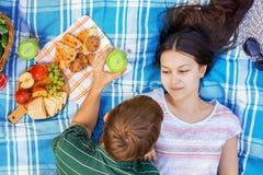 Pares cariñosos jovenes que descansan sobre una comida campestre en un día de verano imagen de archivo