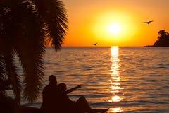 Pares cariñosos que miran puesta del sol hermosa Imágenes de archivo libres de regalías