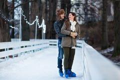 Pares cariñosos que se besan una fecha en una pista de hielo Fotos de archivo