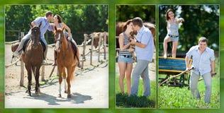 Pares cariñosos alegres en paseo con los caballos marrones Imagenes de archivo