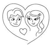 Pares cariñosos en la tarjeta de felicitación del corazón para el día de tarjeta del día de San Valentín Imágenes de archivo libres de regalías