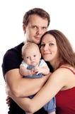 Pares caucasianos novos com o filho idoso de dois meses Fotografia de Stock