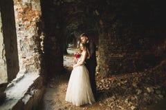 Pares caucasianos românticos bonitos à moda delicados felizes surpreendentes no castelo barroco antigo do fundo Fotografia de Stock