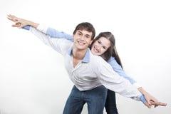 Pares com as mãos levantadas para cima Imagem de Stock Royalty Free