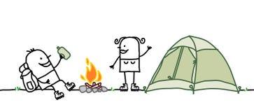 Pares com barraca de acampamento Fotos de Stock