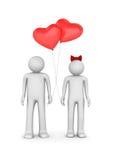 Pares com os balões dados forma coração Fotografia de Stock Royalty Free