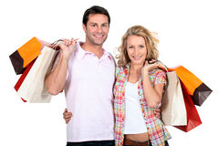 Pares com sacos Foto de Stock Royalty Free