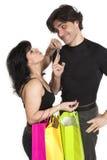 Pares com sacos de compra Fotos de Stock Royalty Free