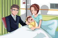 Pares com um bebê ilustração royalty free