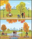 Pares con el cochecito de niño, Autumn City Park Set Vector ilustración del vector