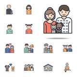 pares con el icono de la historieta de los animales domésticos Sistema universal de los iconos de la familia para el web y el móv ilustración del vector