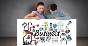 Pares con el texto del negocio e iconos en la cartelera Fotos de archivo
