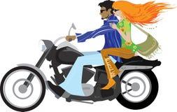 Pares con estilo en la motocicleta Foto de archivo libre de regalías