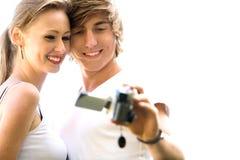 Pares con la cámara Fotografía de archivo