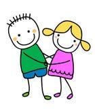 Pares con la muchacha y el muchacho lindos Imagen de archivo