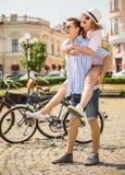 Pares con las bicicletas Imagen de archivo libre de regalías