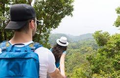 Pares con las mochilas que emigran en Forest Back Rear View, hombre joven y la mujer llevando a cabo el paseo de las manos en tur Imágenes de archivo libres de regalías