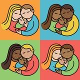 Pares con los bebés stock de ilustración