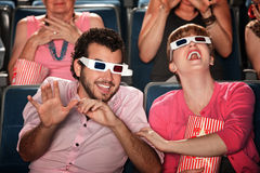 Pares con los vidrios 3D Imagen de archivo libre de regalías