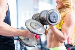 Pares con pesas de gimnasia en el deporte en gimnasio de la aptitud Imágenes de archivo libres de regalías