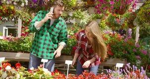 Pares contentos que trabajan en jardín floral almacen de metraje de vídeo