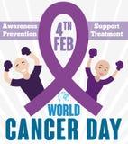 Pares corajosos que lutam contra o câncer que comemora seu dia do mundo ilustração do vetor