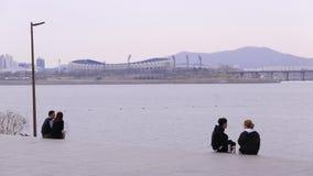 Pares coreanos jovenes que se sientan en el terraplén Seul, Corea del Sur de Han del río almacen de video