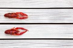 Pares cozinhados frescos de lagostins no fundo de madeira branco foto de stock royalty free