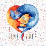 Pares da aquarela de gatos bonitos no fundo com bolhas, pontos, corações ilustração stock