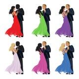 Pares da dança em um fundo branco Fotografia de Stock Royalty Free