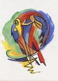 Pares da dança no estilo abstrato Imagem de Stock