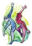 Pares da dança no estilo abstrato Fotografia de Stock