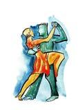 Pares da dança no estilo abstrato Foto de Stock Royalty Free