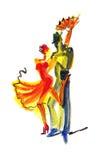 Pares da dança no estilo abstrato Imagens de Stock Royalty Free