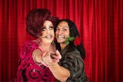 Pares da dança com a Rosa na boca Imagens de Stock Royalty Free