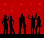 Pares da dança, fundo dos corações Imagem de Stock Royalty Free