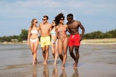 Pares da ra?a misturada que andam ao longo da praia com amigos imagem de stock