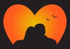 Pares da silhueta no amor Imagem de Stock Royalty Free