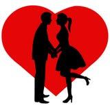 Pares da silhueta A noiva e o noivo Fotos de Stock Royalty Free